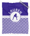 Golly Girls: Personalized Simple Blue Chevron Tennis Fleece Throw Blanket