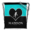 Golly Girls: Personalized Turquoise Doodle-Dots Basketball Drawstring Backpack