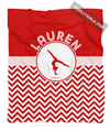 Golly Girls: Personalized Simple Red Chevron Gymnastics Fleece Blanket