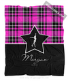 Golly Girls: Personalized Pink Plaid and Silver Star Figure Skating Fleece Throw Blanket