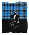 Golly Girls: Personalized Blue Plaid and Silver Star Basketball Fleece Throw Blanket