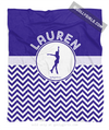 Golly Girls: Personalized Simple Blue Chevron Figure Skating Fleece Throw Blanket