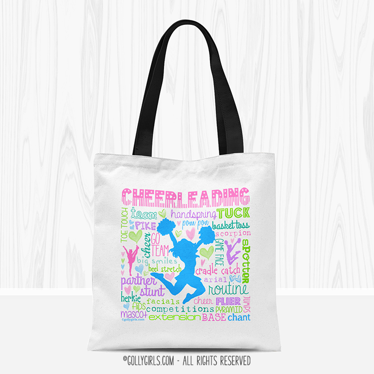 Cheerleading Cheer Pink Brown Rag Quilted Bag Tote Purse 16x16 LargeXL Cute