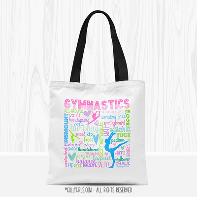 Pastel Gymnastics Typography Tote Bag - Golly Girls