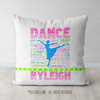 Personalized Dance Pastel Typography Throw Pillow