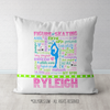 Personalized Figure Skating Pastel Typography Throw Pillow