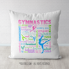 Gymnastics Pastel Typography Throw Pillow - Golly Girls
