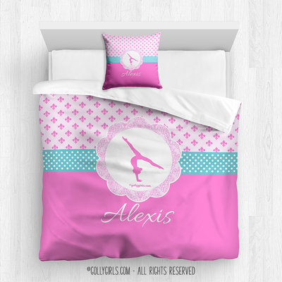 Golly Girls: Pink Fleur-De-Lis and Polka-Dots Gymnastics Queen Comforter Plus Pillow
