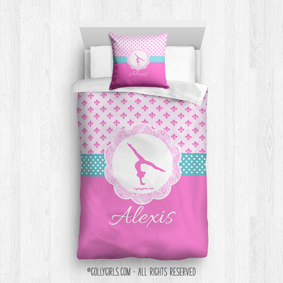 Golly Girls: Pink Fleur-De-Lis and Polka-Dots Gymnastics Twin Comforter Plus Pillow