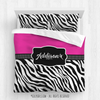 Golly Girls: Personalized Zebra Stripes Hot Pink Dance Queen Comforter Plus Sham