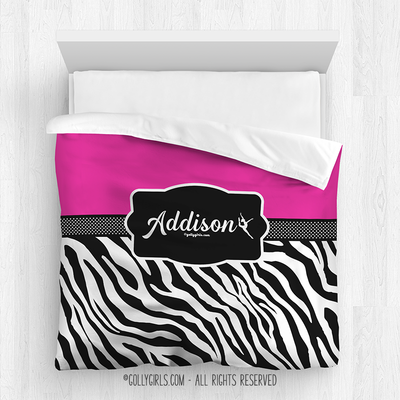 Golly Girls:  Personalized Zebra Stripes Hot Pink Queen Dance Comforter
