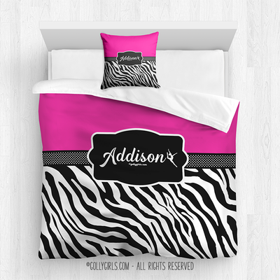 Golly Girls:  Personalized Zebra Stripes Hot Pink Queen Dance Comforter + Pillow