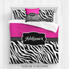 Golly Girls: Personalized Zebra Stripes Hot Pink Dance Queen Comforter Plus Sham Plus Pillow