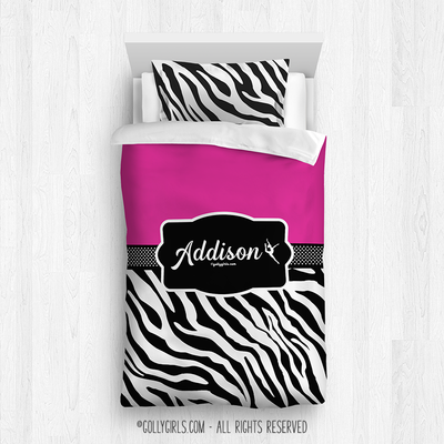 Golly Girls: Personalized Zebra Stripes Hot Pink Twin Dance Comforter Plus Sham