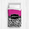Golly Girls: Personalized Zebra Stripes Hot Pink Twin Dance Comforter