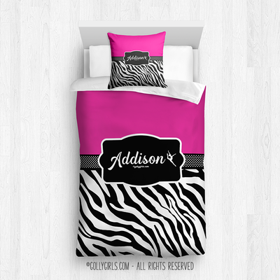 Golly Girls: Personalized Zebra Stripes Hot Pink Twin Dance Comforter + pillow
