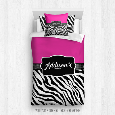 Golly Girls: Personalized Zebra Stripes Hot Pink Twin Dance Comforter Plus Sham Plus Pillow