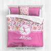 Golly Girls: Pink Summer Floral Personalized Softball Comforter Or Set