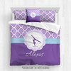 Golly Girls: Personalized Purple Damask and Polka-Dots Gymnastics Queen Comforter Plus Sham Plus Pillow