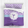Golly Girls: Personalized Purple Damask and Polka-Dots Figure Skating Comforter Or Set
