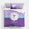 Golly Girls: Personalized Purple Damask and Polka-Dots Figure Skating Queen Comforter Plus Sham Plus Pillow