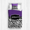 Golly Girls: Personalized Zebra Stripes Purple Cheer Comforter Or Set