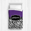 Golly Girls: Personalized Zebra Stripes Purple Gymnastics Twin Comforter
