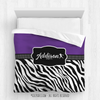 Golly Girls: Personalized Zebra Stripes Purple Softball Queen Comforter