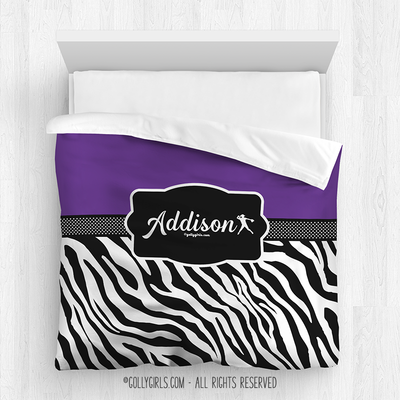 Golly Girls: Personalized Zebra Stripes Purple Softball Comforter Or Set