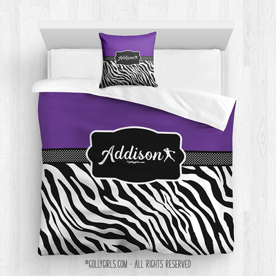 Golly Girls: Personalized Zebra Stripes Purple Softball Queen Comforter + Pillow