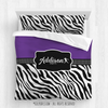 Golly Girls: Personalized Zebra Stripes Purple Softball Queen Comforter Plus Sham