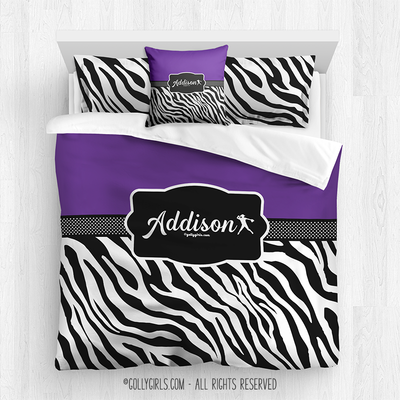 Golly Girls: Personalized Zebra Stripes Purple Softball Queen Comforter Plus Sham Plus Pillow