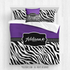 Golly Girls: Personalized Zebra Stripes Purple Tennis Queen Comforter Plus Sham Plus Pillow