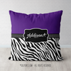 Personalized Purple Zebra Stripe Tennis Throw Pillow