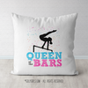Queen of the Bars Gymnastics Themed Throw Pillow