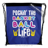 Golly Girls: Rockin' The Basketball Life Blue Drawstring Backpack