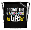 Golly Girls: Rockin' The Lacrosse Life Black Drawstring Backpack