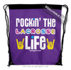 Golly Girls: Rockin' The Lacrosse Life Purple Drawstring Backpack