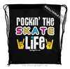 Golly Girls: Rockin' The Skate Life Black Drawstring Backpack