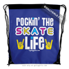 Golly Girls: Rockin' The Skate Life Blue Drawstring Backpack