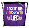 Golly Girls: Rockin' The Skate Life Purple Drawstring Backpack