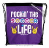 Golly Girls: Rockin' The Soccer Life Purple Drawstring Backpack