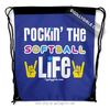 Golly Girls: Rockin' The Softball Life Blue Drawstring Backpack