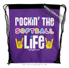 Golly Girls: Rockin' The Softball Life Purple Drawstring Backpack