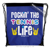 Golly Girls: Rockin' The Tennis Life Blue Drawstring Backpack