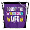 Golly Girls: Rockin' The Tennis Life Purple Drawstring Backpack