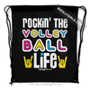 Golly Girls: Rockin' The Volleyball Life Black Drawstring Backpack