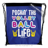 Golly Girls: Rockin' The Volleyball Life Blue Drawstring Backpack