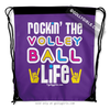 Golly Girls: Rockin' The Volleyball Life Purple Drawstring Backpack