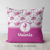 Golly Girls: Floral and Lace Personalized Soccer Throw Pillow